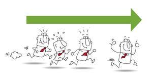Un canard en caoutchouc rouge aboutit une ligne des canards jaunes illustration libre de droits