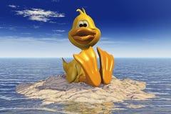 Un canard se reposant sur l'île en mer Images libres de droits