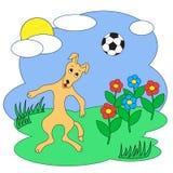Un cane con un pallone da calcio Illustrazione di vettore Fotografia Stock Libera da Diritti