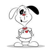 Un cane del fumetto in una maglietta del cuore di amore di bianco I Immagine Stock