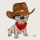 Un cane divertente fresco in un cappello da cowboy Illustrazione di vettore immagine stock libera da diritti