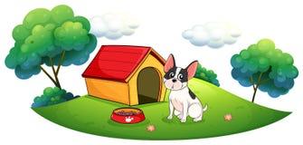 Un cane fuori della sua casa di cane illustrazione vettoriale
