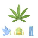 Un cannabis pousse des feuilles, une colombe, jeans, un sac à dos Les icônes réglées de collection de hippie dans le style de ban Images stock
