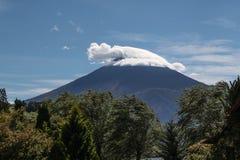 Un cappello del ` s di Santa sulla montagna Fuji Fotografia Stock Libera da Diritti