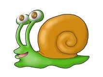 Un caracol verde feliz Fotografía de archivo