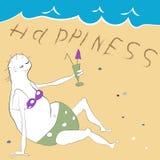 Un caractère de vecteur de dame âgée sur la plage illustration libre de droits