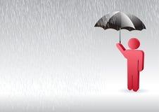 Un carattere dell'uomo che si leva in piedi in su nella pioggia Immagine Stock Libera da Diritti
