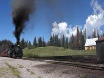 Un carbón histórico alimentó el tren de pasajeros wending su manera a través de un paso de montaña metrajes
