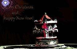 Un carillon nell'ambito della luce della stella della cometa per desiderare le feste e buon anno felici royalty illustrazione gratis