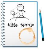 Un carnet avec un croquis d'une personne jouant le ping-pong Images stock