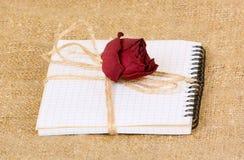 Un carnet est attaché avec une corde Un sec s'est levé des mensonges sur un bloc-notes avec des feuilles dans une cage sur le fon Photographie stock libre de droits
