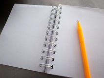 Un carnet et un stylo jaune Image stock