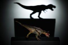Un carnotaurus moulant une ombre de tyrannosaure dans le concept foncé de la force et des aspirations Images libres de droits