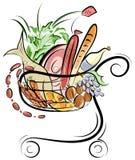 Un carrello di acquisto con l'illustrazione degli alimenti Fotografia Stock