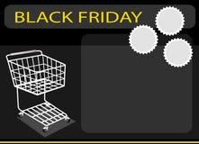 Un carro de la compra en el fondo de Black Friday Fotos de archivo libres de regalías