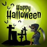 Un cartel en el tema del día de fiesta de Halloween El parca vino a un cementerio abandonado viejo Ilustración del vector stock de ilustración