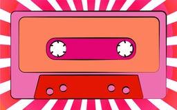 Un casete audio de la vieja del vintage de la antigüedad música retra rosada del inconformista para una grabadora en un fondo de  libre illustration