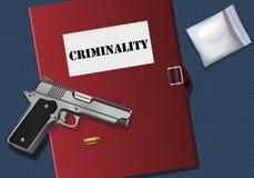 Un casier judiciaire sur une table avec un pistolet illustration stock