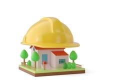 Un casque sur la maison illustration 3D Photo libre de droits