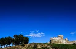 Un castello con gli alberi ed il cielo Fotografie Stock Libere da Diritti