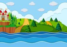Un castillo hermoso en la costa ilustración del vector