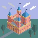 Un castillo medieval del cuento de hadas contra un paisaje del verano Vector eps10 stock de ilustración