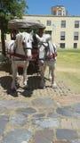 Un cavallo ai vecchi rimorchi Fotografia Stock