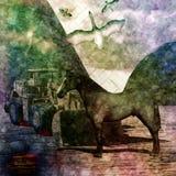 Un cavallo nel deserto immagine stock