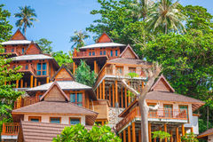 Un centro turístico lujoso en Phi Phi Island, una isla tropical de Tailandia Fotos de archivo libres de regalías