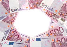Un cerchio di 500 euro banconote Immagini Stock Libere da Diritti
