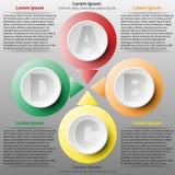 Un cerchio variopinto della carta 3d di quattro argomenti per il concetto infographic dell'illustrazione di progettazione del man Immagine Stock Libera da Diritti
