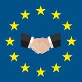 Un cercle des étoiles Style plat UE originale et simple de drapeau de l'Europe Poignée de main solution Drapeau d'Union européenn illustration stock