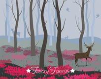 Un cerf commun à l'arrière-plan de vecteur de forêt de féerie pour la conception des cartes, bannières, pages Web, insectes et au illustration de vecteur
