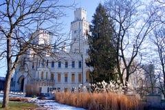 Un château de conte de fées en hiver image libre de droits