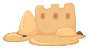 Un château de sable sur le fond blanc illustration stock