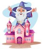 Un château rose avec un magicien au fond illustration libre de droits