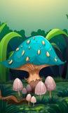 Un champignon géant entouré avec de petits champignons Image stock