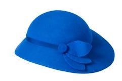 Un chapeau bleu de dames Images libres de droits