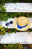 Un chapeau de paille et des verres sur un escalier en bois sont entourés par la verdure Images libres de droits