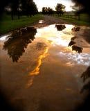Un charco hermoso de la lluvia que captura una puesta del sol colorida Imagen de archivo libre de regalías