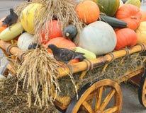 Un chariot avec le potiron de récolte Image stock
