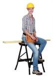 Un charpentier féminin Image libre de droits