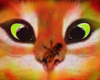 Un chat effrayé et une abeille effrontée illustration libre de droits