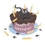 Un chat sur le gâteau souhaite un joyeux anniversaire illustration stock