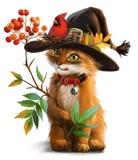 Un chat, une branche de cendre de montagne et cardinal d'oiseau Photo libre de droits