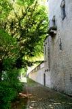 Un chemin bordé d'arbres près d'un mur en pierre d'une maison photographie stock libre de droits