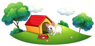 Un chenil et un chien en île illustration stock