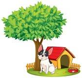 Un chenil et un chien sous un arbre illustration stock