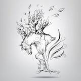 Un cheval avec une crinière des branches Photo stock