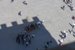 Un cheval et un chariot et des touristes dans la place Vue de Palazzo Vecchio, Florence, Italie Photos libres de droits